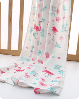 flamimgo muslin swaddle blanket