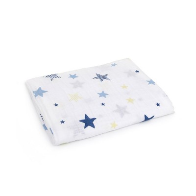 blue star 100% cotton muslin swddle