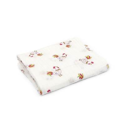 rooster 100% cotton muslin swaddle
