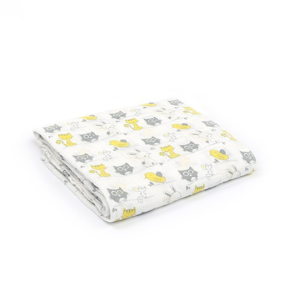 animal zoo 100% cotton muslin swaddle