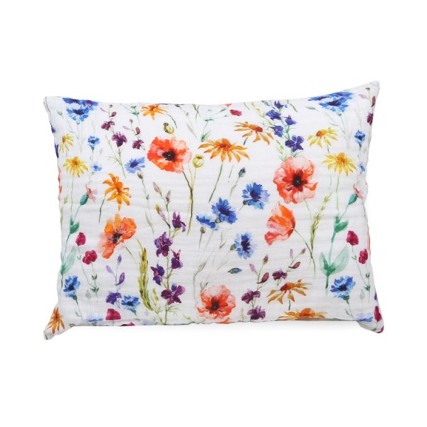 digital print poppy flowers bamboo twill toddler pillowcase