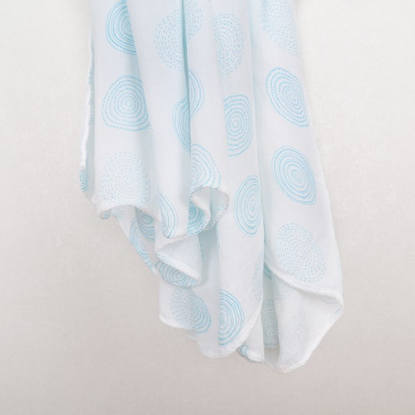blue spiral pure bamboo baby muslin swaddle blankets