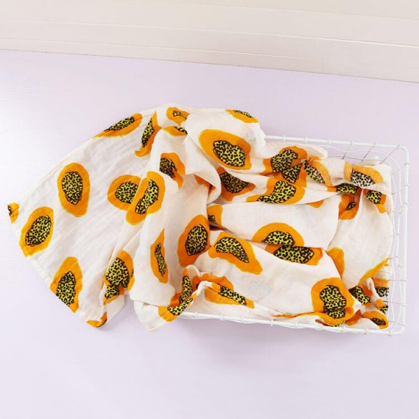 papaya 100% cotton muslin swaddle
