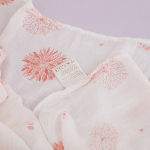 chrysanthemum bamboo cotton muslin swaddle