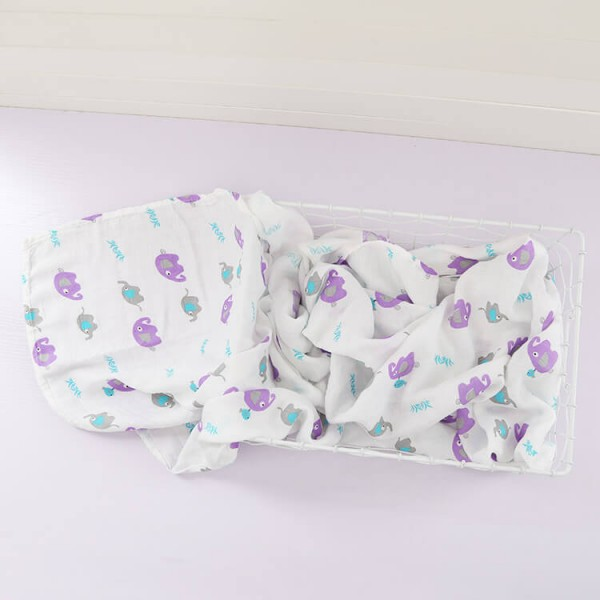 purple elephant bamboo cotton large swaddle blankets
