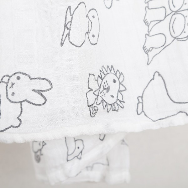 pencil drawing  bamboo cotton muslin swaddle