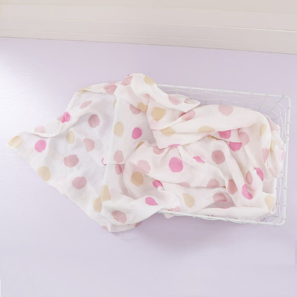 pink dot bamboo cotton muslin swaddle