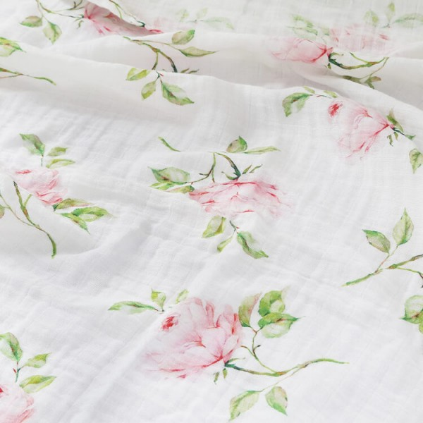 rose 100% cotton muslin swaddle