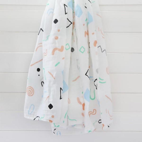 colorful geometric 100% cotton muslin swaddle