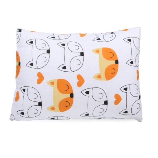 orange fox pigment cotton muslin toddler pillowcase