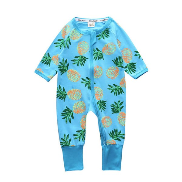blue pineapple baby long sleeve romper