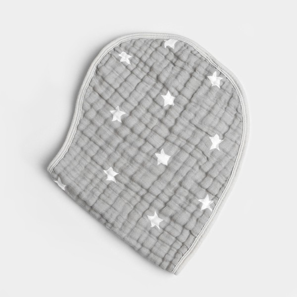 gray star 6 layer gauze muslin baby snap bib