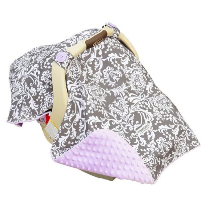 pink minky dot baby car seat cover