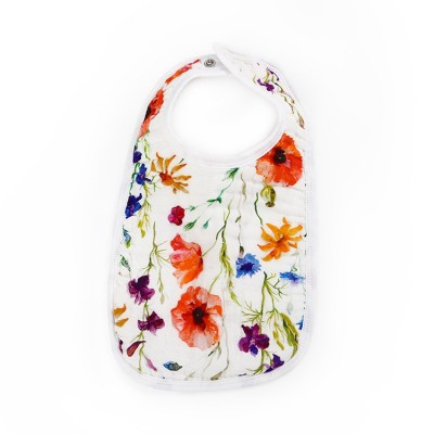 poppy flower 6 layer gauze muslin baby snap bib