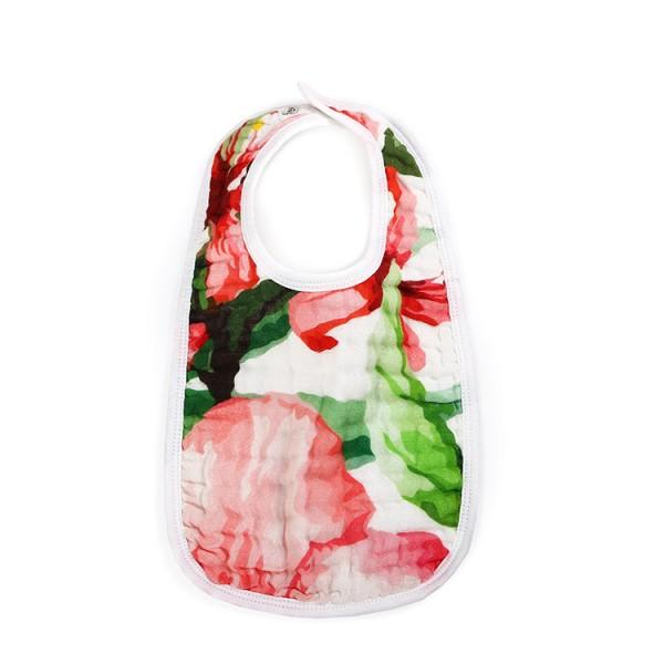 tropical flower 6 layer gauze muslin baby snap bib