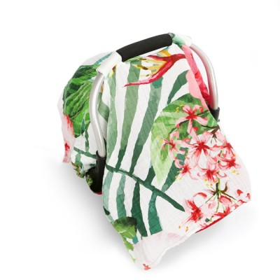 tropical flower muslin baby car seat cover