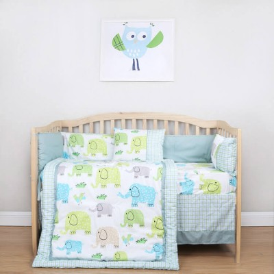 green elephant print 5 pieces baby bedding set
