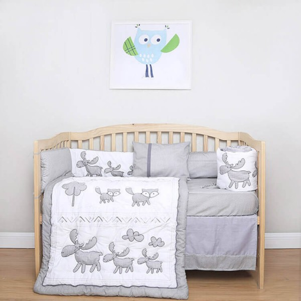 gray goat embroidery 5 pieces baby bedding set
