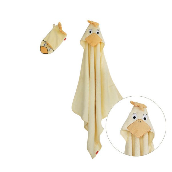 yellow duck baby hooded towel + wash cloth baby bath