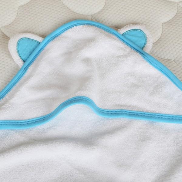 blue trim bamboo baby hooded towel + wash cloth baby bath