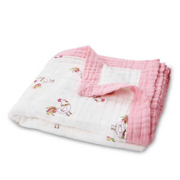 roster baby muslin blanket with muslin trim