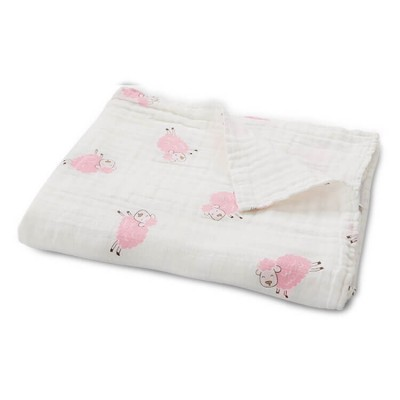 Pink sheep baby muslin blanket without edge