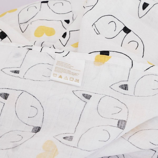 gray fox 100% cotton muslin swaddle