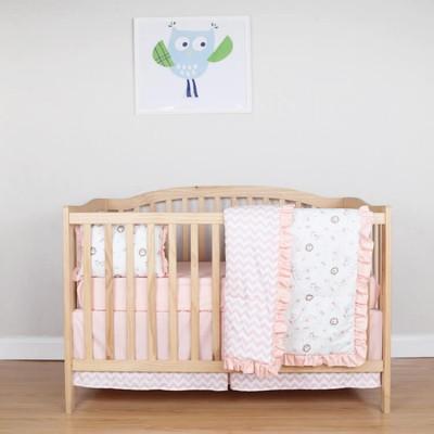 orange flutter trim 4 pieces set crib bedding for girls