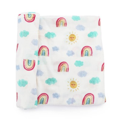 rainbow 120 x 120 cm bamboo cotton muslin baby swaddle