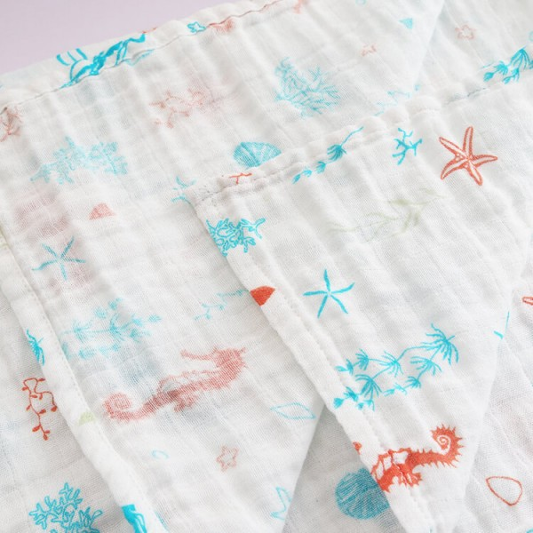 sea horse 120 or 76cm organic cotton muslin baby swaddle blanket