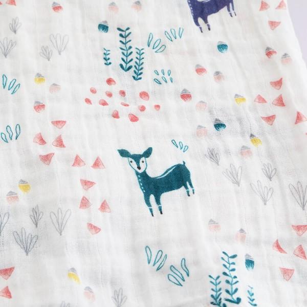 cute deer double layer gauze cotton muslin swaddle