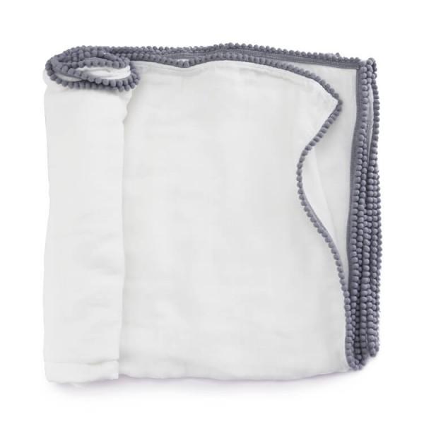 extremely soft 100% bamboo pom pom baby muslin blankets