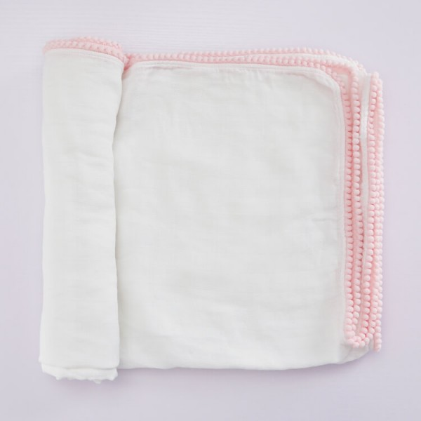 mix color pom pom trim baby muslin blanket