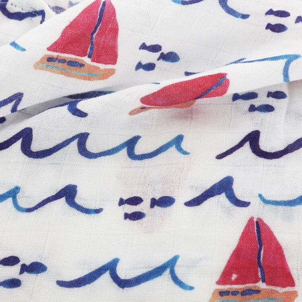 sailboat bamboo cotton baby muslin swaddle
