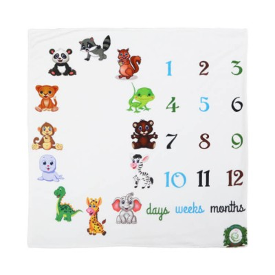 monthly animal full fleece milestone baby blanket