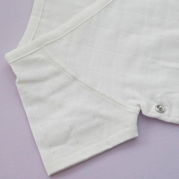 white 95% cotton + 5% spandex muslin baby romper