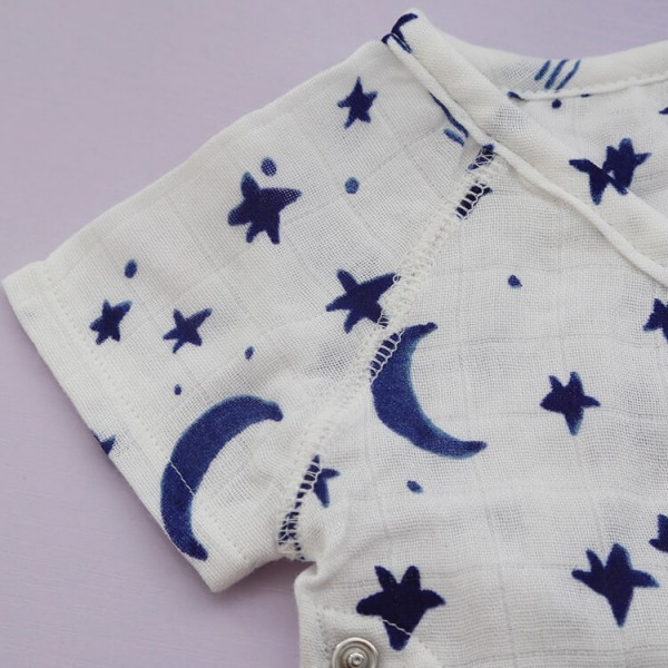 bamboo cotton muslin starry night short sleeve baby romper