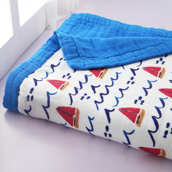 sailboat twin full queen king size muslin blanket