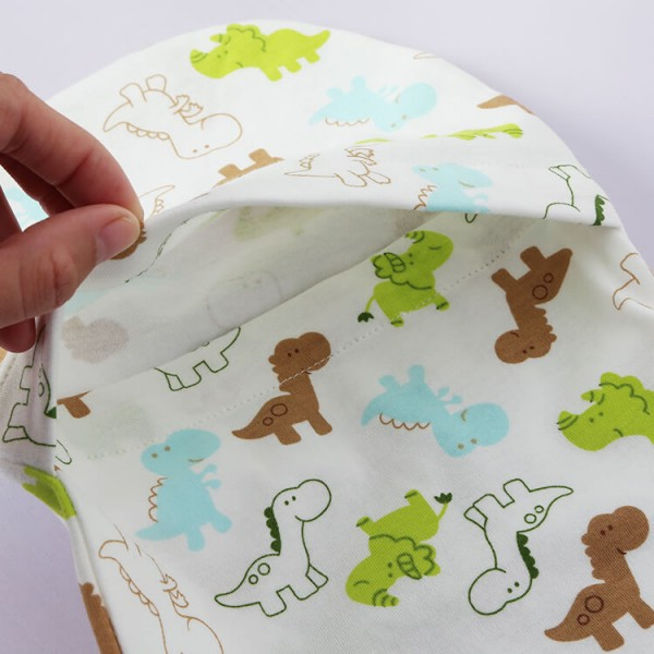 dinosaur or custom printing cotton jersey swaddle pod + headband