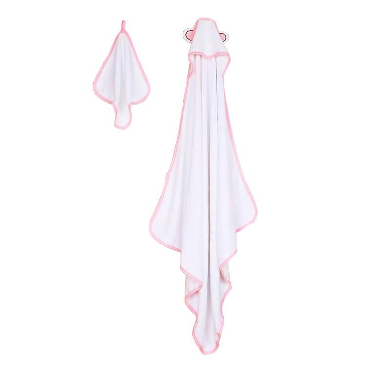 pink trim bamboo baby hooded towel + wash cloth baby bath - Changyi ...