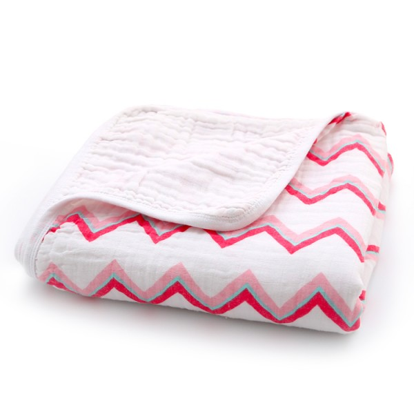 Pink stripe baby muslin blanket with jersey cotton edge