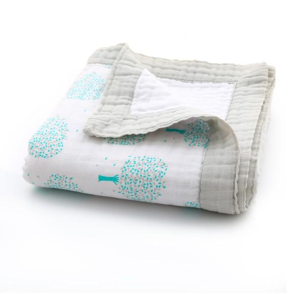 Lucky tree baby muslin blanket with muslin edge
