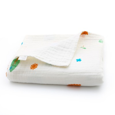 Forest fox baby muslin blanket without edge