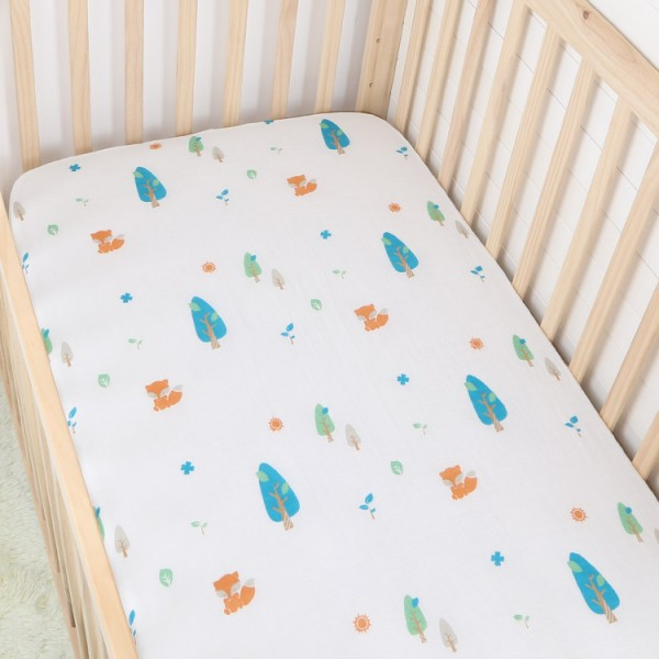 forest fox pigment print cotton muslin baby fitted crib sheet