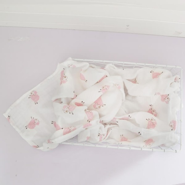 pink sheep 100% cotton muslin swaddle