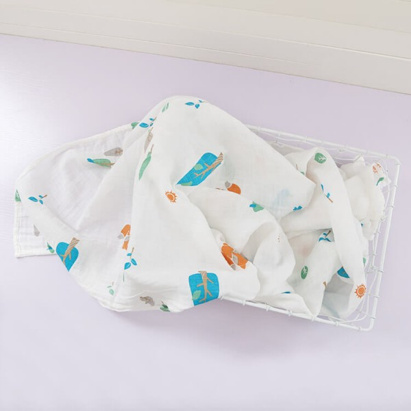 forest fox 100% cotton muslin swaddle