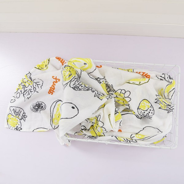 fruit party cotton bamboo muslin swaddle