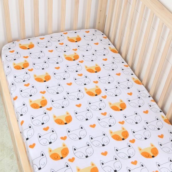 orange fox cotton muslin baby fitted crib sheet