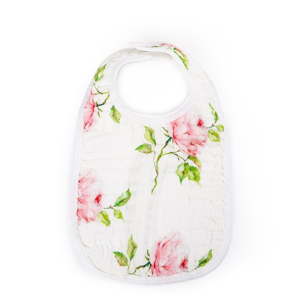 rose 6 layer gauze muslin baby snap bib