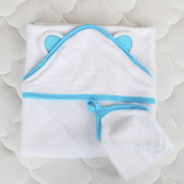 blue trim bamboo baby hooded towel + wash cloth baby bath